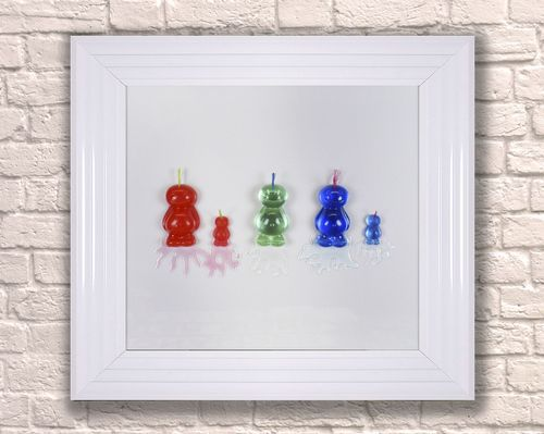 Large Mohican Jelly Babies White 65cm Frame 3D Artwork